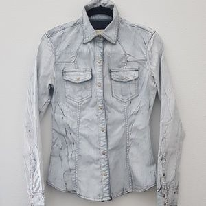 Guess 31 coated denim distressed shirt jacket styl
